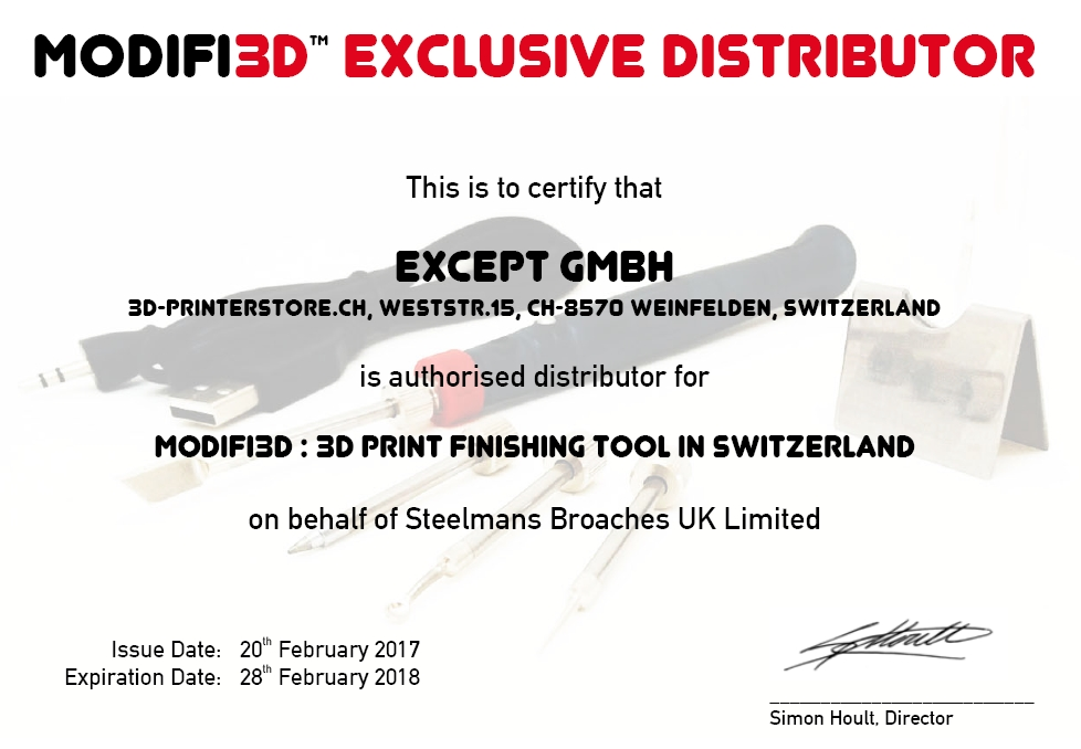 Modifi3d exclusive Distribution for Switzerland